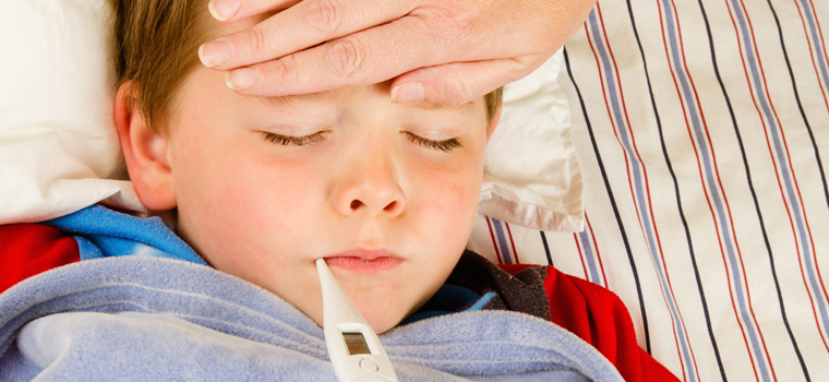 child with flu